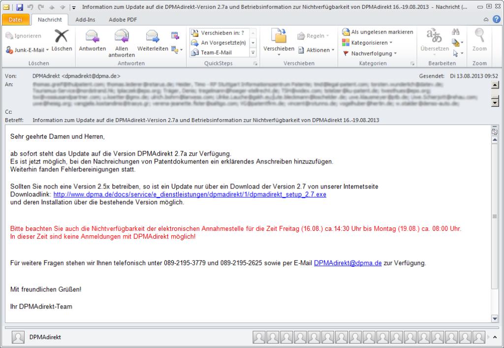 Information zum Update auf die DPMAdirekt-Version 2.7a und Betriebsinformation zur Nichtverfügbarkeit von DPMAdirekt 16.-19.08.2013